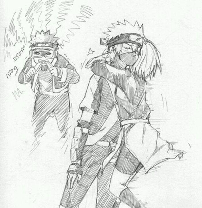 火影忍者壁纸 带土卡卡西班同人铅笔画图片